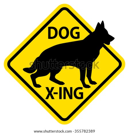 Dog X-ing yield sign featuring a dog.