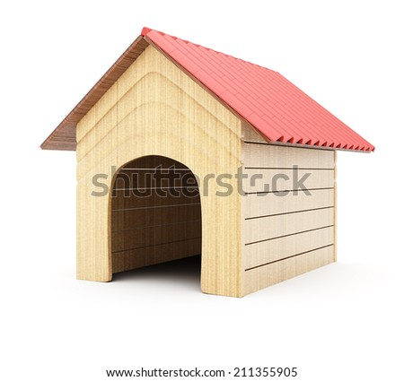 Doghouse isolated on white background. 3d rendering image - stock photo