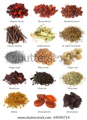 dogrose, Rowan, Hawthorn berries, Cherry branches, Linden flowers, St. John's-wort, poppy seeds, wheat seeds, ginger root, roselle tea, green tea, yerba mate, raisins, dried apricots, dried prunes