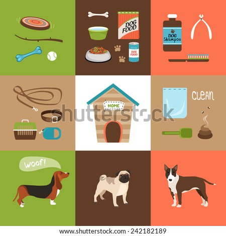 Dogs and dog accessories icons in a flat style - stock photo