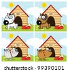 Dogs Different Breed In Front Of His Dog House. Raster Illustration.Vector version also available in portfolio. - stock photo