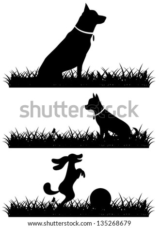 Dogs in grass silhouettes collection. jpg
