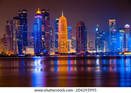 Doha By night - stock photo