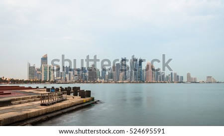 Doha Corniche in the early morning. Qatar, Middle East