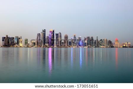 Doha downtown skyline at dusk, Qatar, Middle East - stock photo
