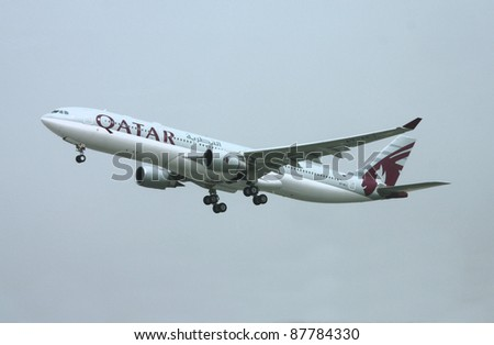 DOHA, QATAR - APRIL 1: Qatar Airways Airbus A330 lands on April 1, 2008 at Doha Airport, Qatar. Qatar Airways was named Airline of the Year 2011 by Skytrax.
