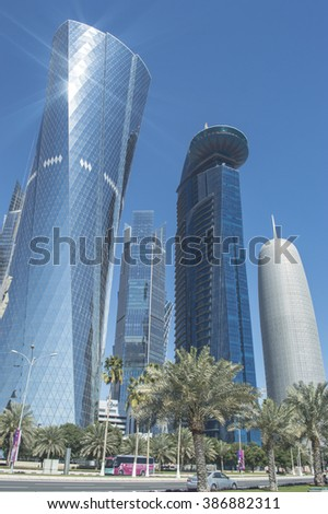DOHA, QATAR  â?? 3 February 2016 at 11:00 am: Tall buildings of the West Bay in Doha, Qatar. Middle East.