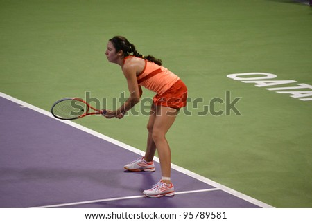 DOHA, QATAR - FEBRUARY 17: Tennis player Christina McHale competes at the Qatar Total Open on February 17, 2012 in Doha, Qatar. The event is from February 13 -19, 2012.