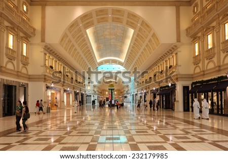 DOHA, QATAR - JAN 7: Inside of the Villaggio Mall Shopping Center in Doha. January 7, 2012 in Doha, Qatar, Middle East - stock photo