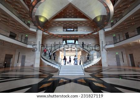 DOHA, QATAR - JAN 6: Interior of the Museum of Islamic Art in Doha. January 6, 2012 in Doha, Qatar, Middle East - stock photo