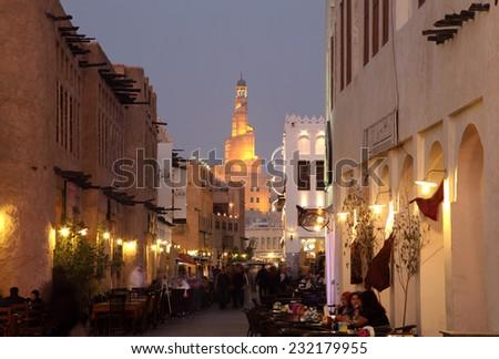 DOHA, QATAR - JAN 7: Souq Waqif at dusk, Doha. January 7, 2012 in Doha, Qatar, Middle East - stock photo