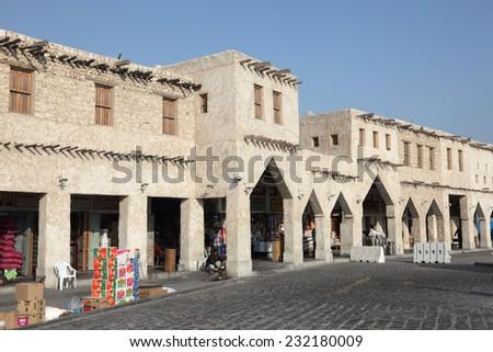 DOHA, QATAR - JAN 7: Traditional Arabian market Souq Waqif in Doha. January 7, 2012 in Doha, Qatar, Middle East - stock photo
