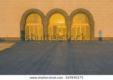 Doha, Qatar - January 30, 2016: The modern architecture of the Museum of Islamic Arts (MIA) in the city center of Doha, the capital of the Arabian Gulf country Qatar on January 30, 2016.  - stock photo