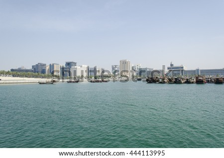 DOHA, QATAR - JUNE 25: The West Bay City skyline. May 25, 2016 in Doha, Qatar, Middle-East.