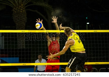 DOHA, QATAR - May 4: athletes during the AVC Beach Tour Qatar Master on May 4, 2017 in Doha, Qatar.