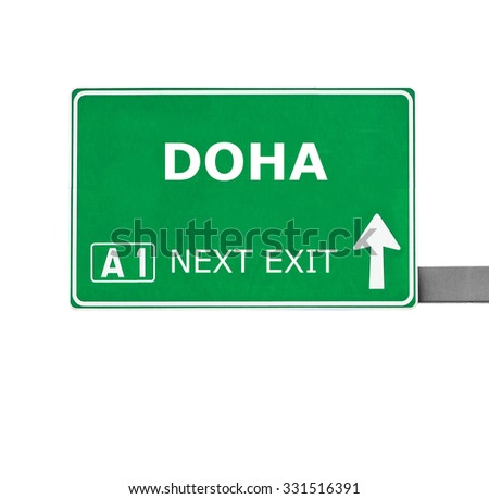 DOHA road sign isolated on white