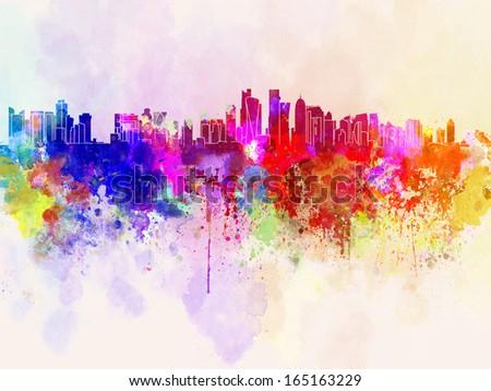 Doha skyline in watercolor background - stock photo