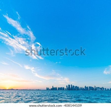Doha Sunset - stock photo