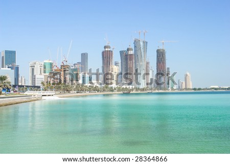 Doha - The capital city of Qatar - stock photo