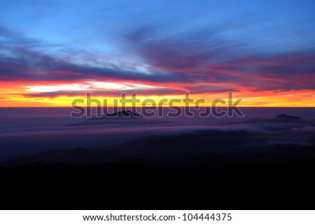 Doi Inthanon National park in the sunrise at Chiang Mai Province, Thailand - stock photo