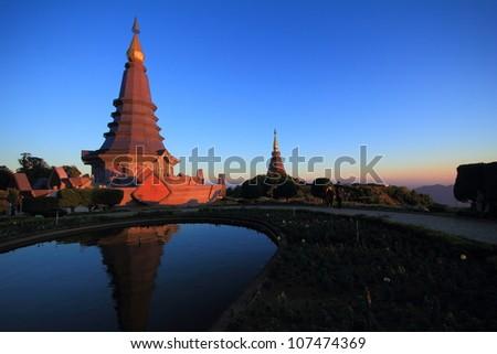 Doi Inthanon Stupa in Chiang Mai, Thailand - stock photo