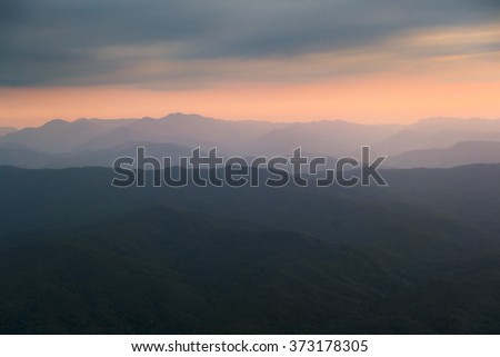 Doi samer dao, view of mountain before sunrise in northern Thailand in dark tone