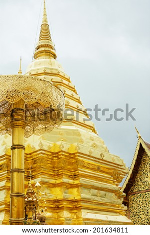 Doi Suthep Buddhist Golden Stupa, Chiang Mail, Thailand - stock photo