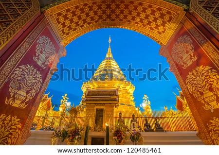 Doi Suthep Pagoda in the early morning. Chiang Mai Thailand - stock photo
