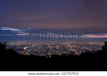 Doi Suthep scenic point at Chiang mai in Thailand - stock photo