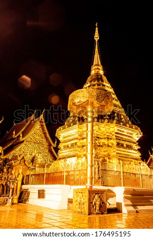 Doi Suthep temple in Chiang Mai at night