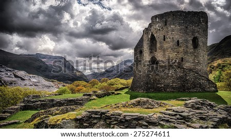 Dolbadarn Castle in Llanberis Snowdonia built in the 13th Century - stock photo