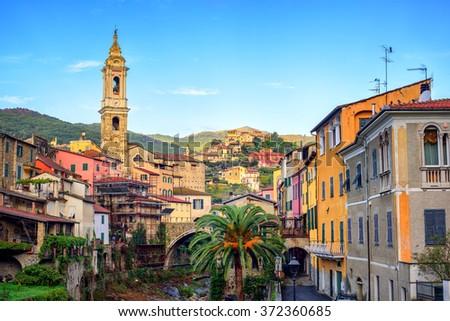 Dolcedo, little italian town hidden in the Maritime Alps mountain on Riviera by Imperia, Liguria, Italy - stock photo
