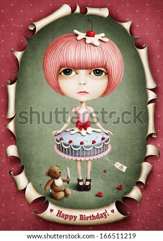 Doll cake and lunch bear. - stock photo