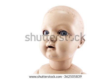 Doll face isolated on white with clipping path  - stock photo