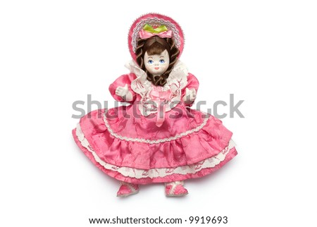 doll on the white background - stock photo