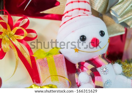 Doll various gift box with bow in variety shapes and variety colors - stock photo