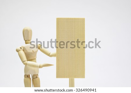 Doll with a signboard/Occupation of the image that specializes in advertising