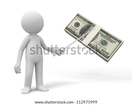 Dollar/a man pointing a bundle of dollars