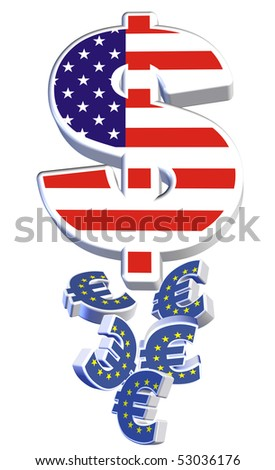 Dollar above tumbling Euro currency in 3D on white background - signifying the drop in value of the euro compared to the dollar - stock photo