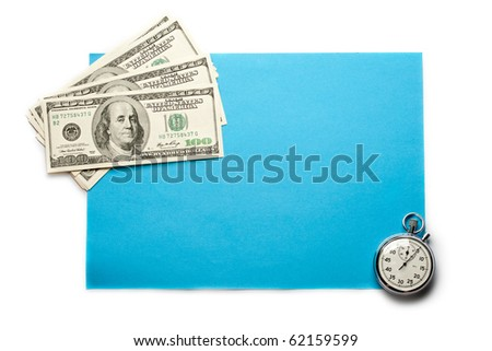 Dollar and clock isolated on white - stock photo