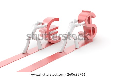 Dollar and Euro currency competition exchange, 3d render. - stock photo