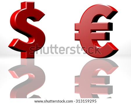 Dollar and Euro currency sign, opposing each other, exchange or trading business concept. 3D CGI Rendering on white reflecting surface. - stock photo