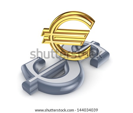 Dollar and euro.Isolated on white.3d rendered. - stock photo
