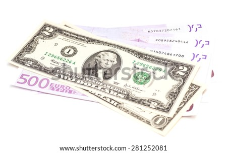 dollar and euro money isolated on white - stock photo