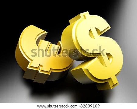 Dollar and Euro money symbols. 3D rendered Illustration. - stock photo
