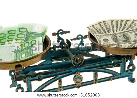 Dollar and euro on balance. Differences in currencies - stock photo