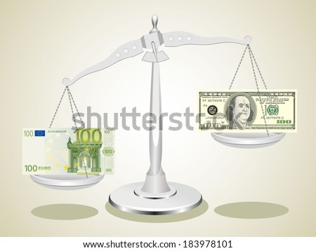 dollar and euro on scales - stock photo