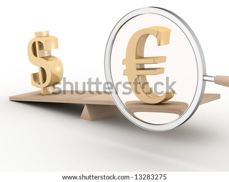 Dollar and euro on scales. 3D image.