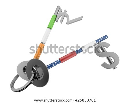 Dollar and Indian currency sign key with US and Indian flag texture on it. High quality sharp 3d rendering - stock photo