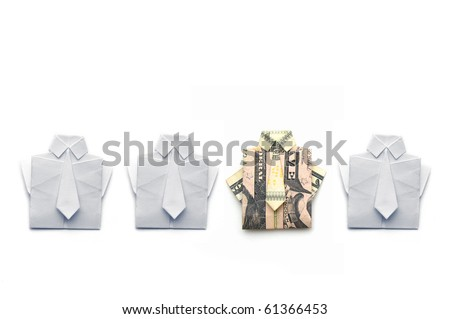 dollar and paper folded origami style into a shirt and tie - stock photo